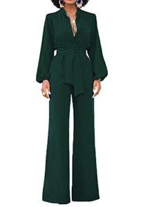 Combinaison élégante pour dames Minetom à jambes longues et larges a taille haute avec ceinture bureau d'affaires et manches longues look décontracté. – Vert – 46