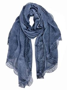 DAMILY Élégant Écharpe à Imprimé Dentelle Pour Femme Hiver Doux Foulards en Coton Léger Cadeau Châle Stole 95CM * 200CM (Bleu)