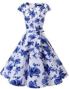 DRESSTELLS Version 6.0 Vintage 1950's Robe de soirée Cocktail rétro Style années 50 Manches Courtes White Blue Flower XS