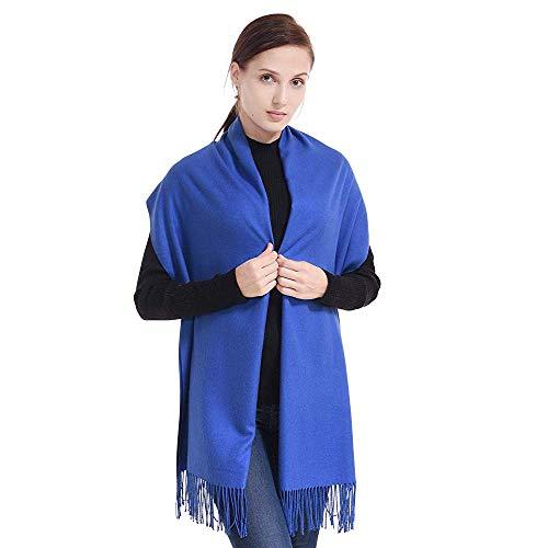 Écharpe Étole Pashmina Foulard Châle Touché Soyeux Couleur Unie 198cm x 90cm (+ 40 Couleurs) (bleu roi)