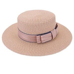 FALETO Chapeau de Paille de Soleil Pliable Femme Panama Capeline Décor Nœud Visière d'Été Protection Anti UV Plage Loisirs Voyage Jazz Lady Hat(Rose)