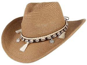 GEMVIE Chapeau Western – Chapeau de Cowboy Femme – Chapeau de Paille été Anti-UV Plage (Kaki)