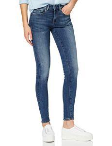 G-STAR RAW 3301 Mid Waist Skinny Jean, Bleu (Faded Indigo Destroyed 8968-A949), W25/L34 (Taille Fabricant: 25W / 34L) Femme