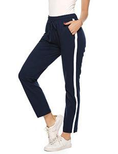 Hawiton Pantalon de Sport Femme 100% Coton Stripe Pantalon décontracté Pantalon de Jogging Pantalon d'entraînement Fitness Taille Haute Long Coton,Femme- Bleu,L