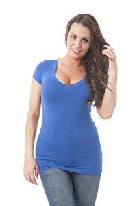 Hollywood Star Fashion T-Shirt à Manches Courtes col en V pour Femme – Bleu – Large
