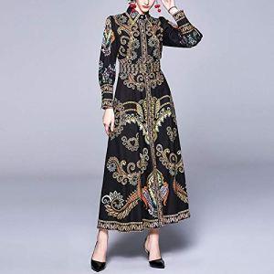 HUANGYUNCHAO Vêtements et beauté Style Court Imprimer Manches Longues Robe Chemise Taille (Couleur : Black, Taille : One Size)