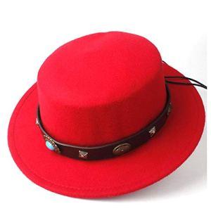 HUXIZ Chapeau en Feutre 2019 Mode Homme Femme Laine Flat Top Fedora Chapeau Steampunk Ceinture Père Église Chapeau à Large Aile Jazz Chapeau Fascinator Taille 56-58 cm 56-58 Rouge