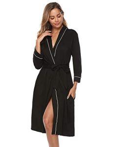 iClosam Robe de Chambre Kimono en Coton pour Femmes en Tricot pour Femmes, col en V, Peignoir de Nuit pour Toutes Les Saisons S-XXL, Noir-b, XXL