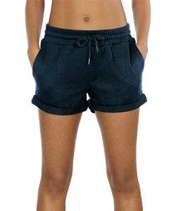 icyzone Femme Short de Sport Casual Yoga Fitness Elastique Short Jogging Pantalon Court avec Cordon (L, Navy)