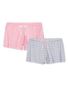 Iris & Lilly Fun Print Bas De Pyjama Multicolore (Grey-Pink), Large Lot de 2