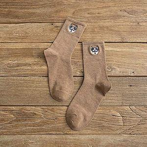 Jejhmy 1 paire de chaussettes en coton femmes dessin animé mignon broderie chien imprimé Calcetines Casual femmes coton chaussettes EUR36-40 kaki,chaussettes femme coton