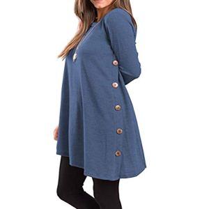 JYKING Robe à Manches Longues pour l'automne et l'hiver – Bleu – M