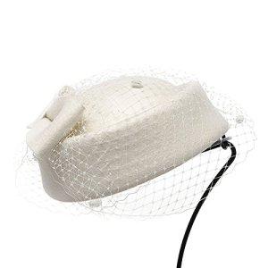 Lawliet Chapeau femme en feutre de laine rétro avec nœud et voile pour cocktail, fête, mariage – Blanc – Taille Unique