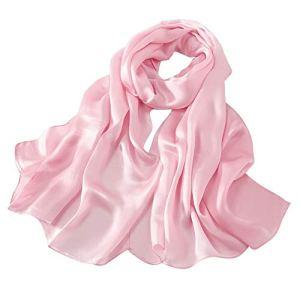 LD Foulard Femme 100% Soie de Satin Écharpe 9 momme Luxe Hypoallergénique Châle 170 X 55cm (Satiné-Rose)