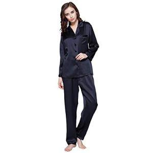 LILYSILK Pyjama Soie Femme Vêtement de Nuit 2 Pièces Pyjama Long Col Boutonné Manches Longues Poche Poitrine Fonctionnelle 22 Momme M Bleu Marine