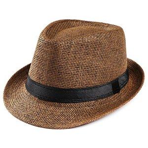 LIMITA Chapeaux de Soleil Unisexe Chapeaux de Plage Casquettes Gangster Trilby Chapeaux de Paille Sun Beach Bandeau de Soleil (café)