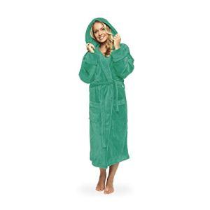 Lumaland Peignoir de en Microfibre avec Capuche pour Femme et Homme différentes Tailles et Couleurs Vert Menthe S