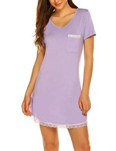 MAXMODA Chemise de Nuit Femme Manches Courte Robe de Nuit Casual Pyjama Violet M