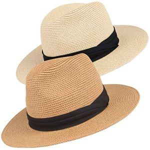 Maylisacc Panama Hat Délicat Homme Femme Chapeau Panama Fedora en Paille Respirable pour Plage Shopping Photographie – 2 Pièces