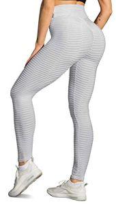 Memoryee Leggings de Compression Anti-Cellulite Slim Fit Butt Lift Elastique Pantalon de yoga taille haute avec poches sport pour femmes/Style1-Gris/S