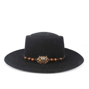 Mode Porkpie Chapeau Automne Hiver Femme Homme Sombrero Chevalier 100% Laine Flat Top Hat Animal Métal Corde en Cuir Trilby Chapeaux (Color : Black, Size : 56-58)