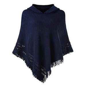 NoBrand Poncho en Tricot à Capuche pour Femme – Bleu – Taille Unique