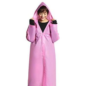 NoBrand Pratique Portable Raincoat Femme Homme Longue Pluie Poncho à Capuche Transparent étanche Adulte Non-jetable extérieur Anti-Humide Effacer Rainwear (Color : Pink)