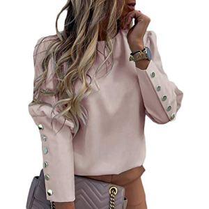 OranDesigne Femme Chemisier Élégant Bouffée épaule Blouse Chemises Bureau Automne Métal Boutonné Détail T-Shirt à Manches Longues Hauts Rose M
