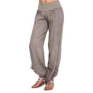 ORANDESIGNE Femme Pantalon en Lin élastique Taille Sport Yoga Confortable Pantalon Grand Taille Couleur Unie Avoir Poches