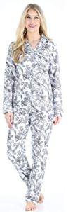 PajamaMania Femme Pyjama Manches Longues Flanelle Pyjama Ensemble, Imprimé Oiseaux (PMF1002-2081-EU-LRG)