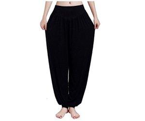 Pantalon sarouel/harem de yoga/Pilates pour femme – leggings longs et baggy en coton pour femme – pantalon doux en coton modal et élasthanne, Noir , XXL