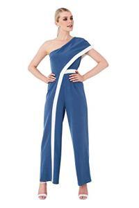 Paper Dolls Farrell Prussian Blue Combinaison à Rayures Une-épaule – Bleu – 34
