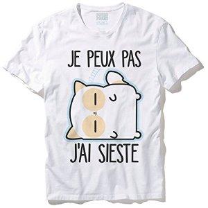 Pouny Pouny T-Shirt Mixte Je Peux Pas J'Ai Sieste Chibi et Kawaii – Made in France – Licence Officielle Chamalow Shop (XL)