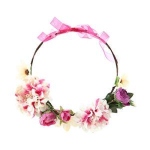 PRETYZOOM Bandeau Fleuri Bandeaux Floral Fleur Blanche Couronne Guirlande Casque Accessoires de Cheveux Bohème pour Vacances Mariage Plage Fête Photo Prop