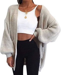 Pull Femmes Hiver Grande Taille Chauve-Souris Manches Tricot Cardigan Tricoté Cardigan Femme Pull Manteau – Gris – Taille S