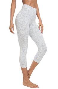 QUEENIEKE Damen 22″ Yoga Capris Power Flex Mittlere Taille Hosen Laufhose Training Laufende Leggings Couleur Space Dye Blanc Taille M