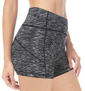 QUEENIEKE Entrejambe 4.5″ Taille Moyen Contrôle du Ventre Short de Course de Yoga pour Femme Couleur Space Dye Noir Taille M