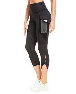 QUEENIEKE Femme 22″ Legging de Sport Pantalon pour Course Yoga Pilate Gymnase Couleur Noir/Charbon Taille S