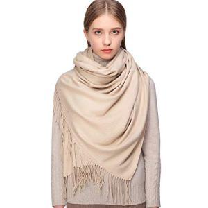 RIIQIICHY Cachemire Hiver Chaud Écharpe Pashmina Châle Wrap Pour Femmes et Hommes Beige Longues Grandes Écharpes Douces,Beige,Large