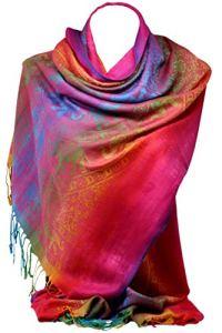Scarf Shack couleurs de l'arc-en-ciel châle imprimé éléphant de style pashmina, wrap, foulard multicolore en cachemire pour femme (Éléphant arc-en-ciel 1)