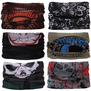 Sea Team 6 pièces / paquet bandanas imprimés multifonctions tissu, 12 styles écharpe choix, bandeau, moto bandana, écharpe ect.