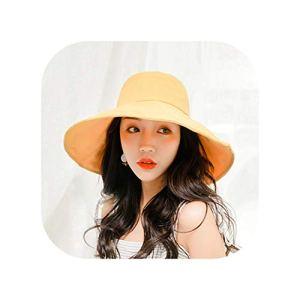 Souiey-shop Chapeaux de Soleil pour Femme en Plein air et Plage Grande tête Grande Taille – Jaune – Taille Unique