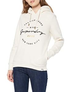 Superdry Applique Hood Sweat-Shirt À Capuche, Blanc (Soft White L6O), Medium Femme