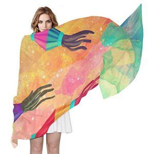 Swere Écharpe transparente pour femme – Longue et douce – Accessoires pour femme – Accessoire pour la tête – Foulard tendance – Cadeau de fête – Aquarelle – Fond – 70,9 x 35,4 cm