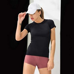 Tianya Summer New Ladies Solid Color T-Shirt à Séchage Rapide à Manches Courtes Sports Tight Sexy Fitness Yoga Top(Noir,S)