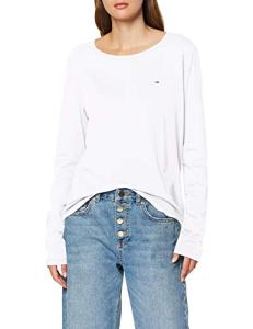 Tommy Jeans Femme Soft Jersey Longsleeve Pull de sport Blanc (Classic White 100) Large
