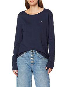 Tommy Jeans Femme Soft Jersey Longsleeve Pull de sport Bleu (Black Iris 002) X-Small