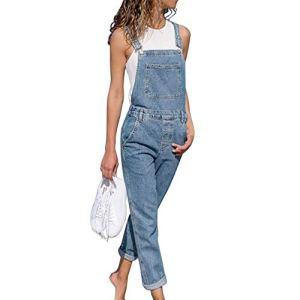 Tomwell Pantalon Lache pour Les Femmes Couleur Bloc Denim Cordon de Taille Salopette Bleu Clair 38