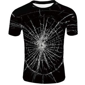 T-Shirt Rayé Manches Courtes 3D Verre Texture Pull Top Funky Coloré Graphique Couples Pull Top XXS Noir