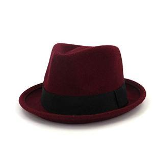 TX Chapeau Fedora en Feutre de Laine pour Femme et Homme Taille 56-58 cm, Laine + Polyester, Rouge vin, 56-58